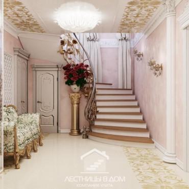 Эксклюзивная бетонная винтовая лестница с кованным ограждением, г. Павловский Посад