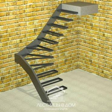 Лестница консольная Г-образная с забежными ступенями