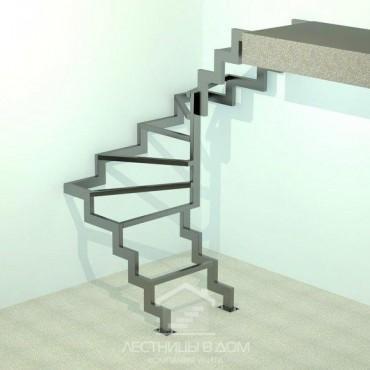 На двух металлических косоурах П-образная с забежными ступенями