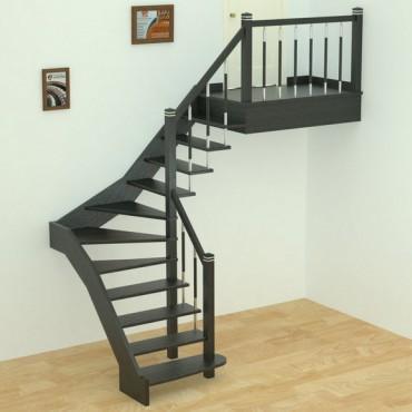 """Лестница """"Модерн"""" Г-образная на больцах, с забежными ступенями"""