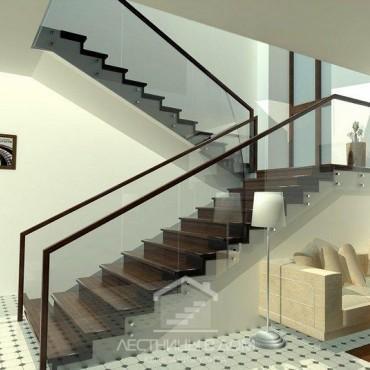 Обшивка бетонной лестницы со стеклянным ограждением