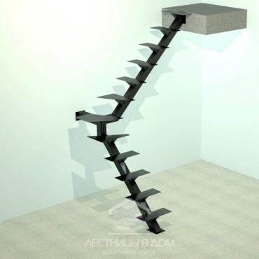 На одном металлическом косоуре Г-образная с забежными ступенями