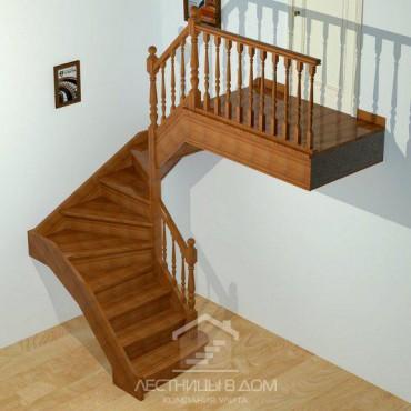 """Лестница """"Классическая"""" П-образная с забежными ступенями"""